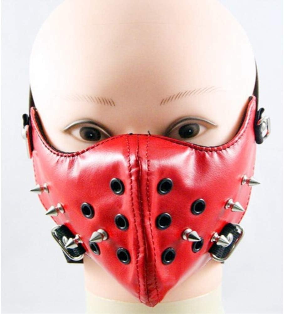 Rosso LUOEM Rivetto in Pelle Mezza Faccia Punk Maschera Cosplay Maschere palco Roccia Antivento Antipolvere Maschera in Pelle Moto Bicicletta Ciclismo Maschera