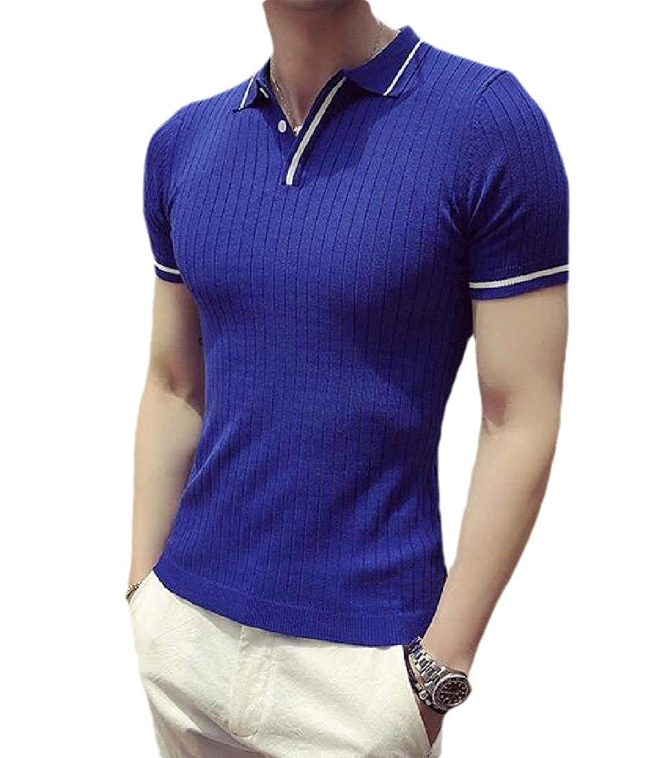 RDHOPE-Men Polo-Collar Slim-Fit Quick Dry Short Sleeve Pique Polo Shirt