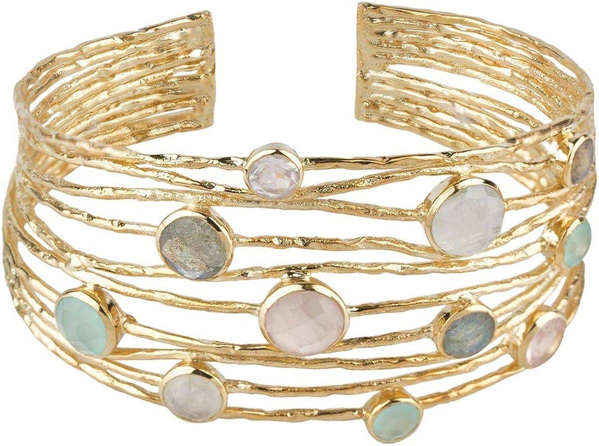 VIDAL & VIDAL Pulsera Mujer rígida Ajustable chapada en Oro con Cristal y Piedras de Colores Pastel