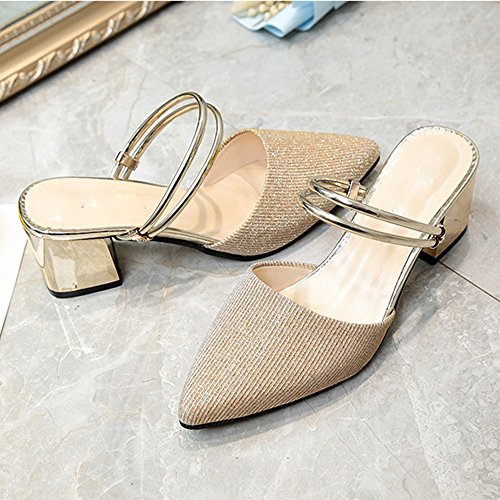 Sandals NAN Spring And Summer New Female Thick With Two Wear Pointed High Heel Bag Half Slippers Silver, Golden (Color : Silver, Size : EU36/UK3.5/CN35) Golden
