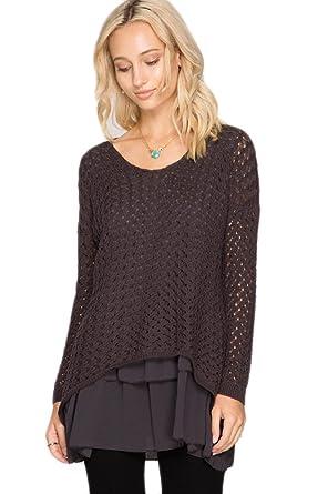 She   Sky Women's Chiffon Layered Tunic Sweater - Charcoal at ...