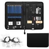 YOHOOLYO 40PCS Crayons de Dessin Crayons Croquis Kit de Croquis Dessin avec Sac Inclus Gomme Crayon de Charbon Graphite Outils pour Dessiner