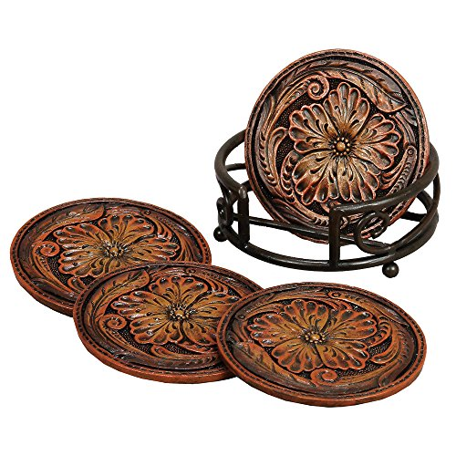Tooled Floral Leather Coaster Set (5 pcs) - Southwestern Kitchen Decor