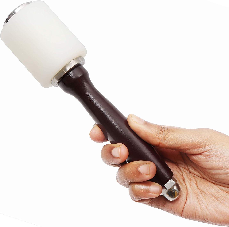 Martillo Nylon - 20,5cm Martillo De Cuero Mango De Madera Nylon Tallado En Cuero Mallet Craft Stamping Tool-Perfecto para Manualidad Cuero Estampado, Tallado, Impresión
