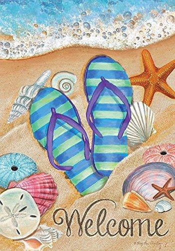 Briarwood Lane Day in The Sun Beach Garden Flag Summer Flip Flops Shoreline 12.5