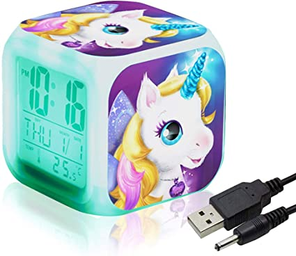 QearFun Unicornio Despertador Infantil Relojes de Alarma