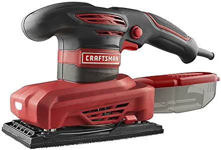Craftsman | Best 2.5 Amp 1/3 Sheet Sander | Finish Sanding Medium To Large Jobs | Guaranteed | Integrated Worklight | Low Profile For Maximum Comfort | Top Rated - #1 Seller | Construction Site Tool