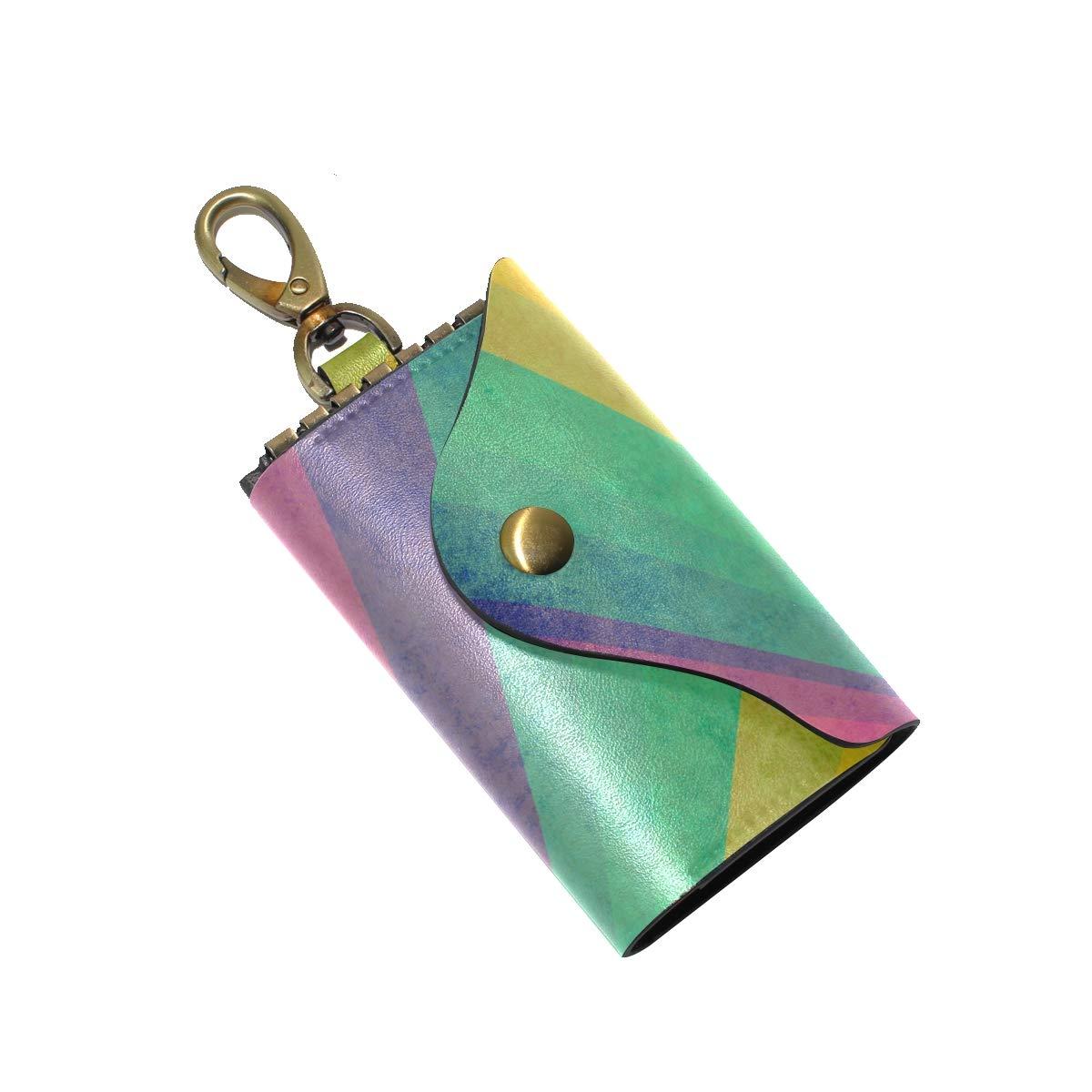 KEAKIA Vintage Sunbeams Ranibow Leather Key Case Wallets Tri-fold Key Holder Keychains with 6 Hooks 2 Slot Snap Closure for Men Women