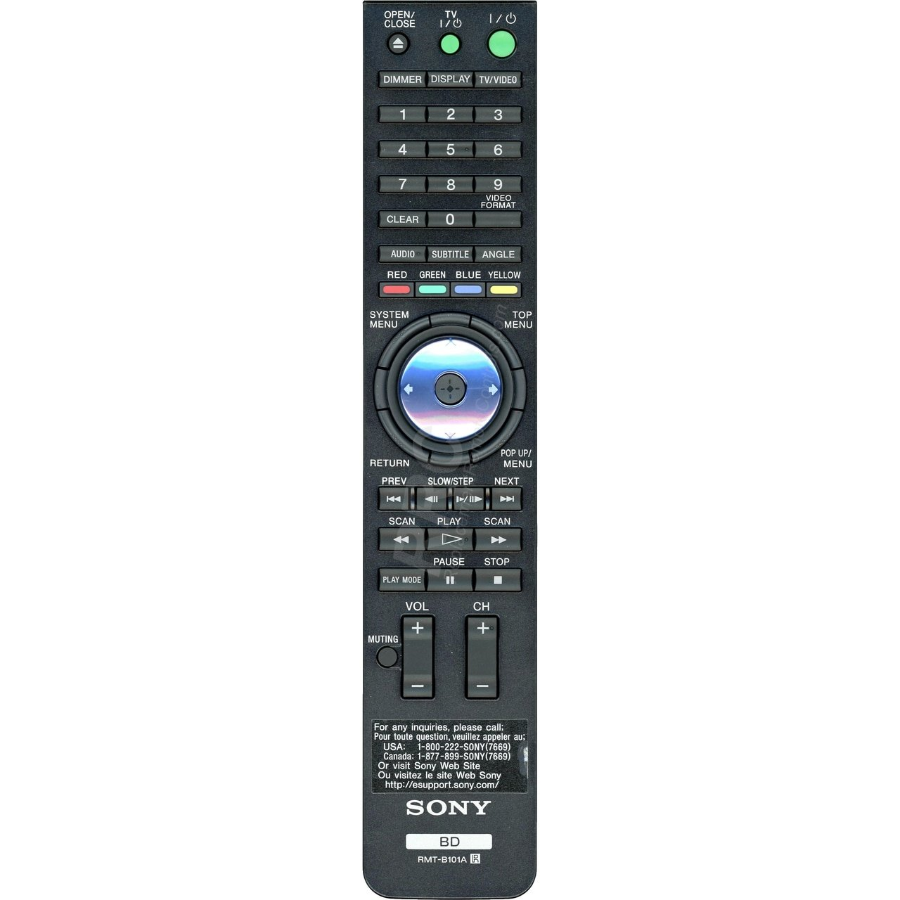 Genuine Sony RMT-B101A DVD/ Blu-ray Player Remote Control