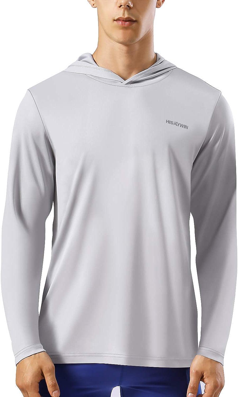 HISKYWIN Mens UPF 50 Sun Protection Hoodie Long Sleeve Performance T-Shirt Athletic Top Rashguards