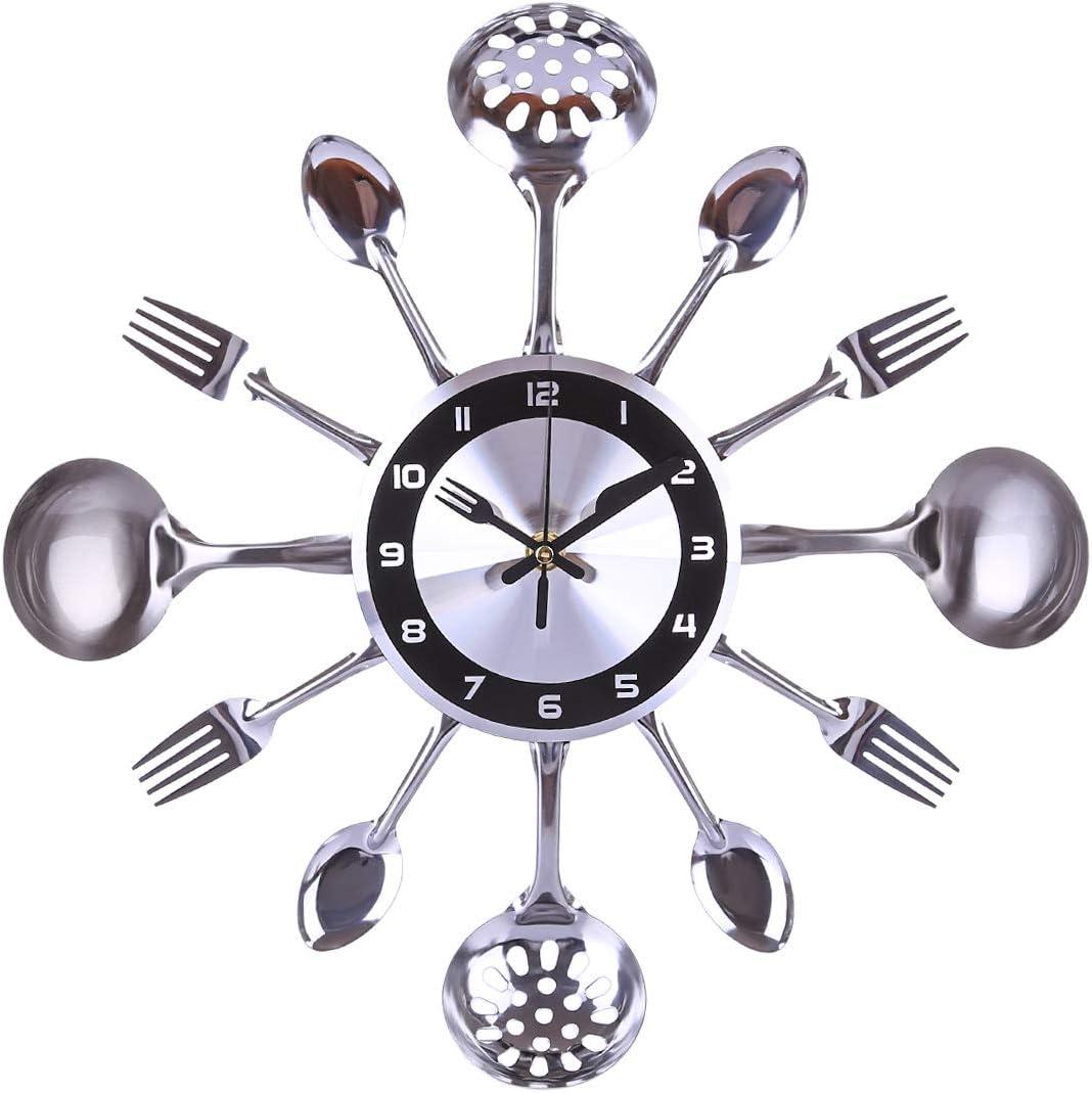 Yavso Reloj de Pared Cocina Silencioso, Metal Reloj Pared Cocina Silencioso para Decoración Cocinas, Restaurantes, Hoteles, Cafeterías: Amazon.es: Hogar