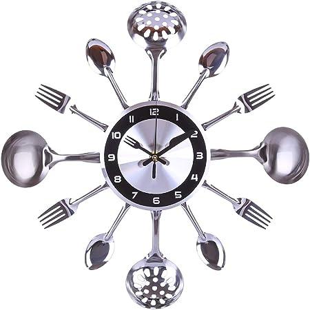 Yavso Orologio Da Parete Cucina Moderno 35cm Orologio Da Muro Cucina Con Forchette E Cucchiai Per Cucine Ristoranti Hotel Caffe Amazon It Casa E Cucina