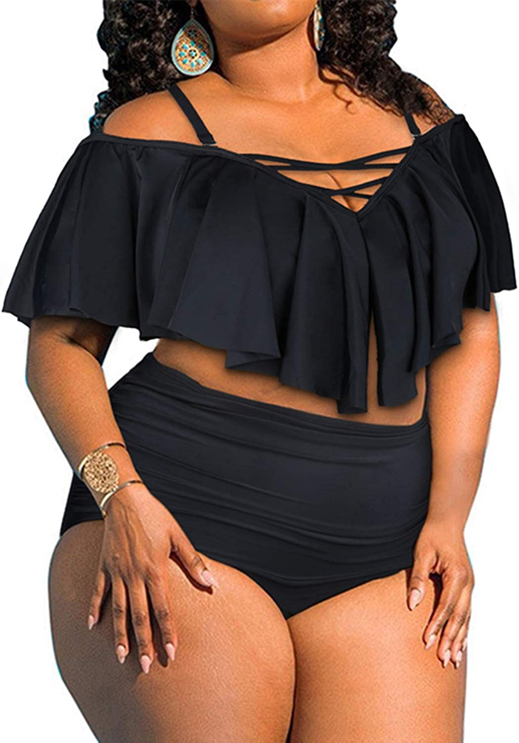 BeachQueen Womens Plus Size Swimsuit Ruffle Off Shoulder Bikini Ruched Swimwear