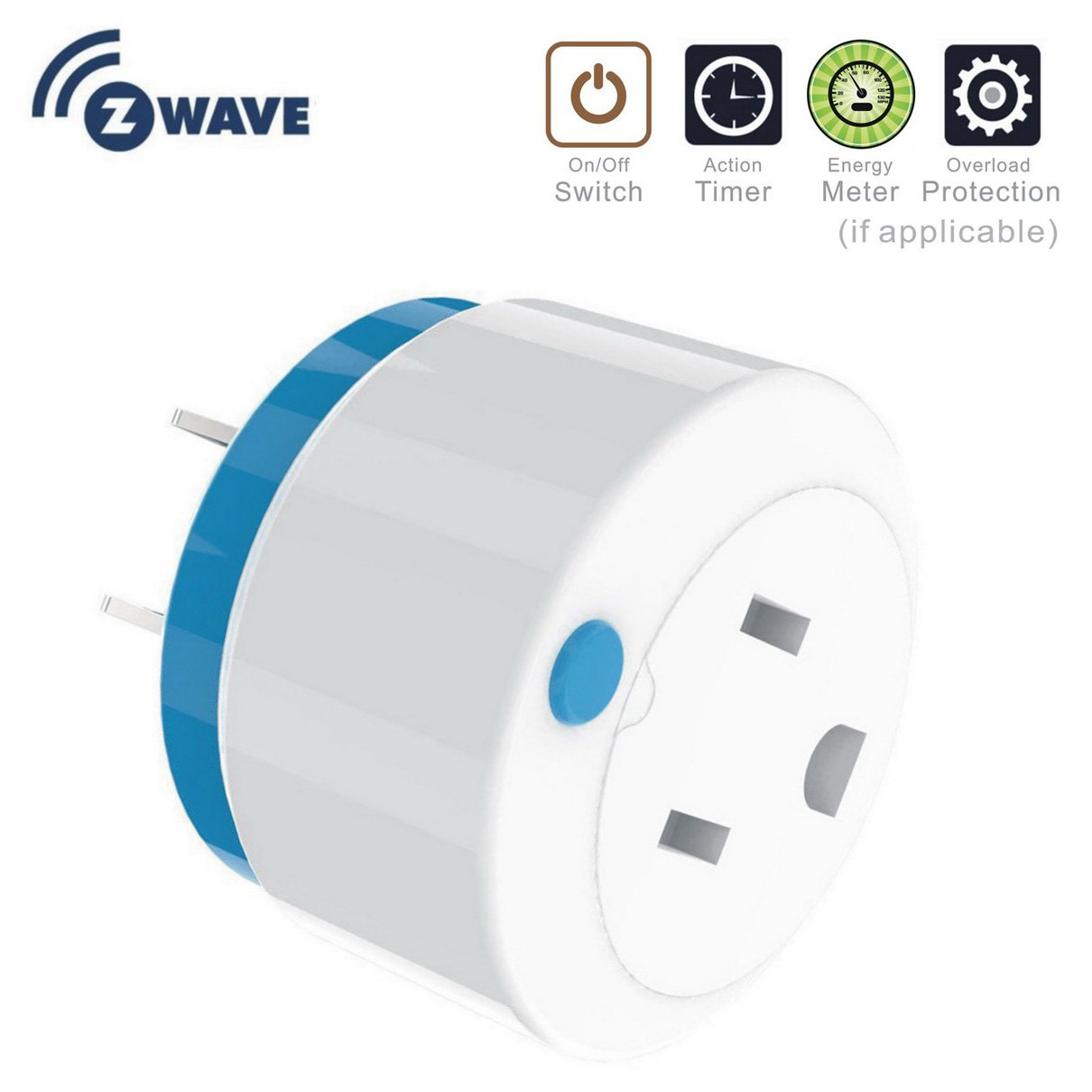 Mini ZWave Smart Plug, z Wave Power Plug Home Automation Z-Wave Socket Outlet Wireless Switch Plug Control by Smartphone Compatible with Wink, Smartthings, Vera, Zipato, Iris, Fibaro by NEO
