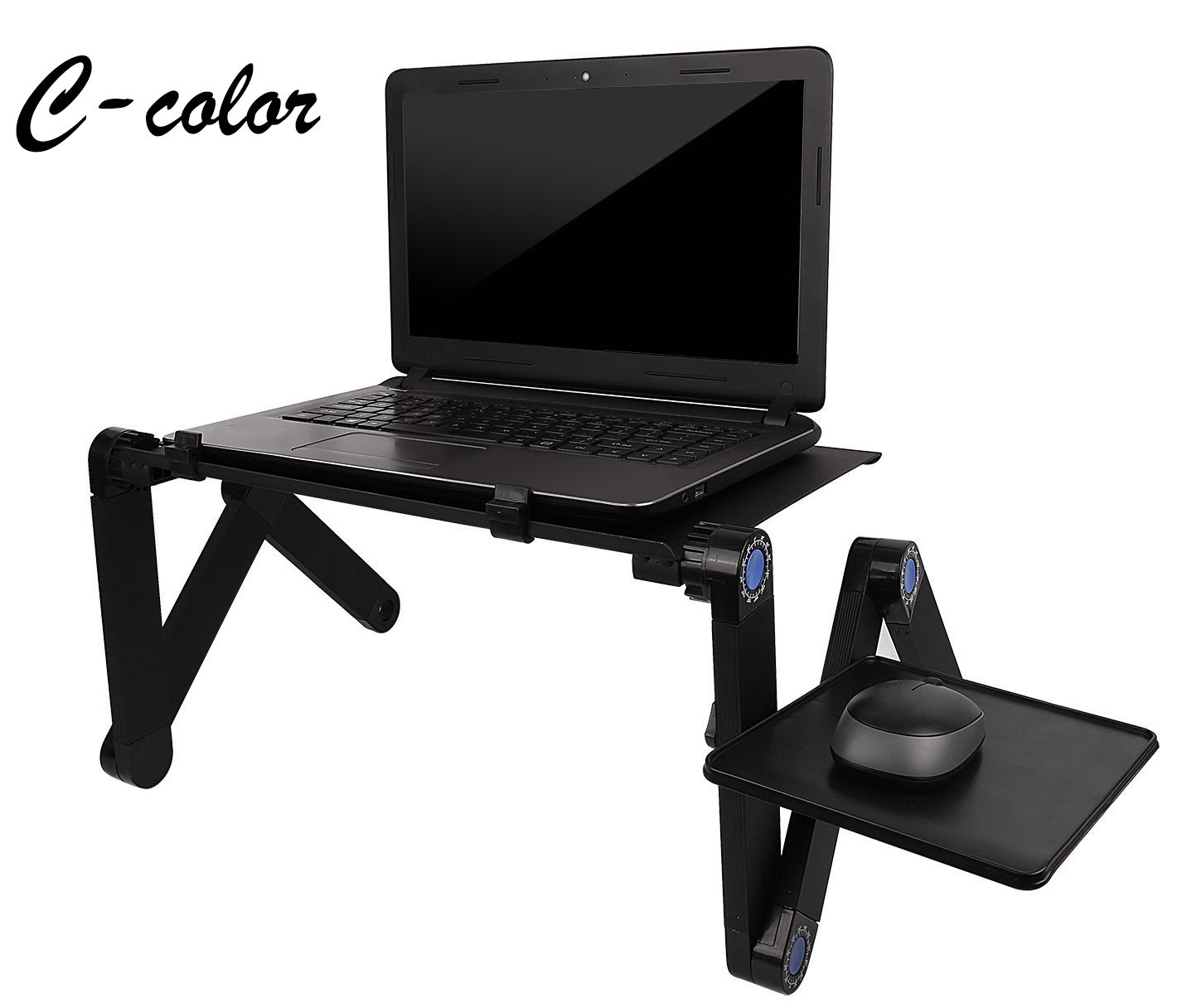 Portable Laptop Desk, Adjustable Aluminum Laptop Stand with CPU Fans Mouse Pad Side in Bed & Couch/Sofa Tray Stand up/Sitting up to 17'' (L)