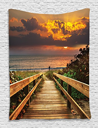 Nature Landscape Pictures (Beach Decor for Fisherman Wooden Bridge Panoramic Sunset Ocean View Nature Art Picture Landscape Seascape Marine House Wall Hanging Tapestry Dorm Bedroom Living Room Decorations, Brown Orange)