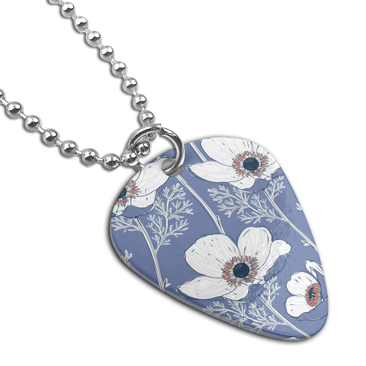 Hand Drawn Anemone Flowers Custom Guitar Pick Pendant Necklace Keychain