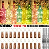 30 Pack Wine Bottle Lights with Cork - 20 LED/Pack,Battery Operated LED Fairy Mini String Lights for Christmas Decorations,DIY,Party,Decor,Wedding (60 PCS Additional Batteries.Warm White)
