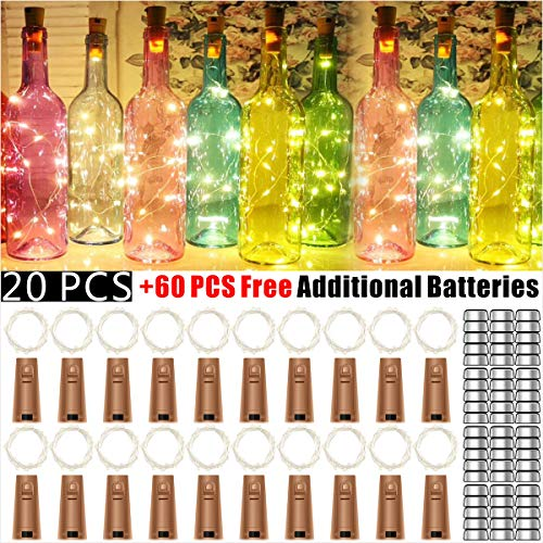 Amozmcom Wine Bottle Lights with Cork - 20 Pack 20 LED Battery Operated LED Fairy Mini String Lights for Christmas Decorations,DIY,Party,Decor,Wedding.(60 PCS Free Additional Batteries.Warm White)