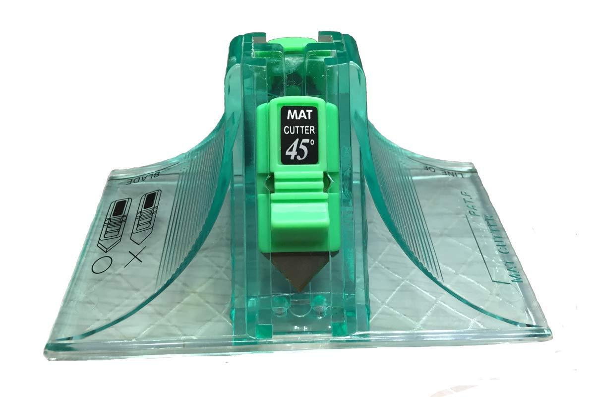 Cutter 45 & 90 Degree Bevel Mat Board Cutter, with 2pcs Free Replacement Blade (Green)
