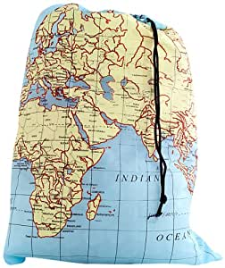 Kikkerland Travel-Size Laundry Bag, World Map