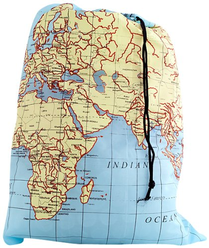 Dirty Laundry Print - Kikkerland Travel-Size Laundry Bag, World Map