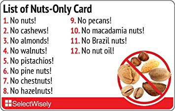List of Nuts-Only Allergy Translation Card - Translated in Malayalam or any  of 59 languages