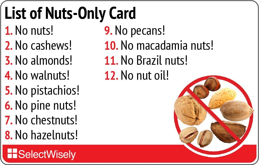 List of Nuts-Only Allergy Translation Card - Translated in Thai or any of 59 languages by SelectWisely