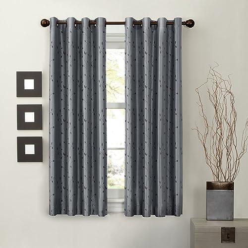 MAYTEX Jardin Thermal Blackout Room Darkening Faux Silk Embroidered Single Panel Grommet Window Curtain, 54 inch x 63 inch, Blue