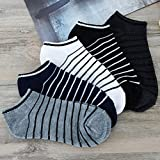 Fheaven 5 Pack 6 Pack Unisex Low Cut No Show Comfortable Stripe Cotton Sock Slippers Short Ankle Socks (5pairls)