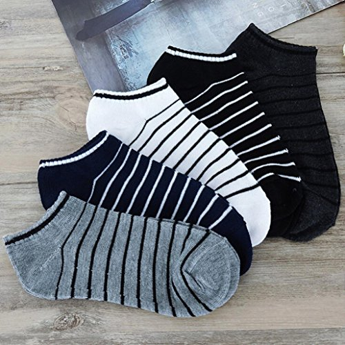 Fheaven 5 Pack 6 Pack Unisex Low Cut No Show Comfortable Stripe Cotton Sock Slippers Short Ankle Socks (5pairls) by Fheaven