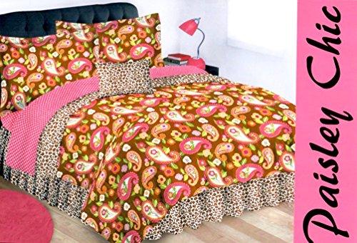Pink Brown Paisley - 7pc Teen Girls Safari Leopard Print Brown and Pink REVERSIBLE Paisley Comforter~Sham~Bedskirt & Sheet Set + TOSS PILLOW! (TWIN SIZE)