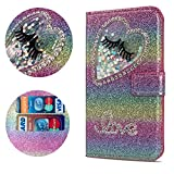 Stysen Flip Case for Galaxy A8 Plus 2018,Leather Cover with 3D Handmade Diamond Heart Sequins Glitter Shiny Wallet Magnetic Clasp for Samsung Galaxy A8 Plus 2018