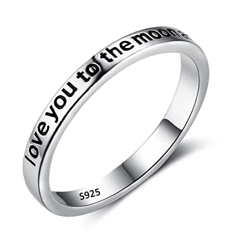 "Flyonce Anillos Plata de ley 925 Mujer""I Love You to the Moon And Back"""