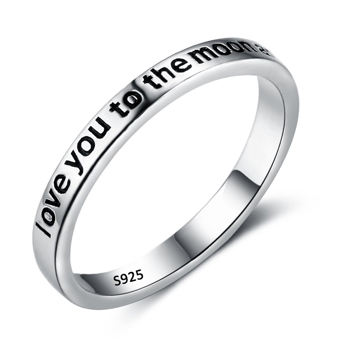 EVER FAITH 925 Sterling Silver''Love You to the Moon and Back'' Engagement Promise Ring Size 6
