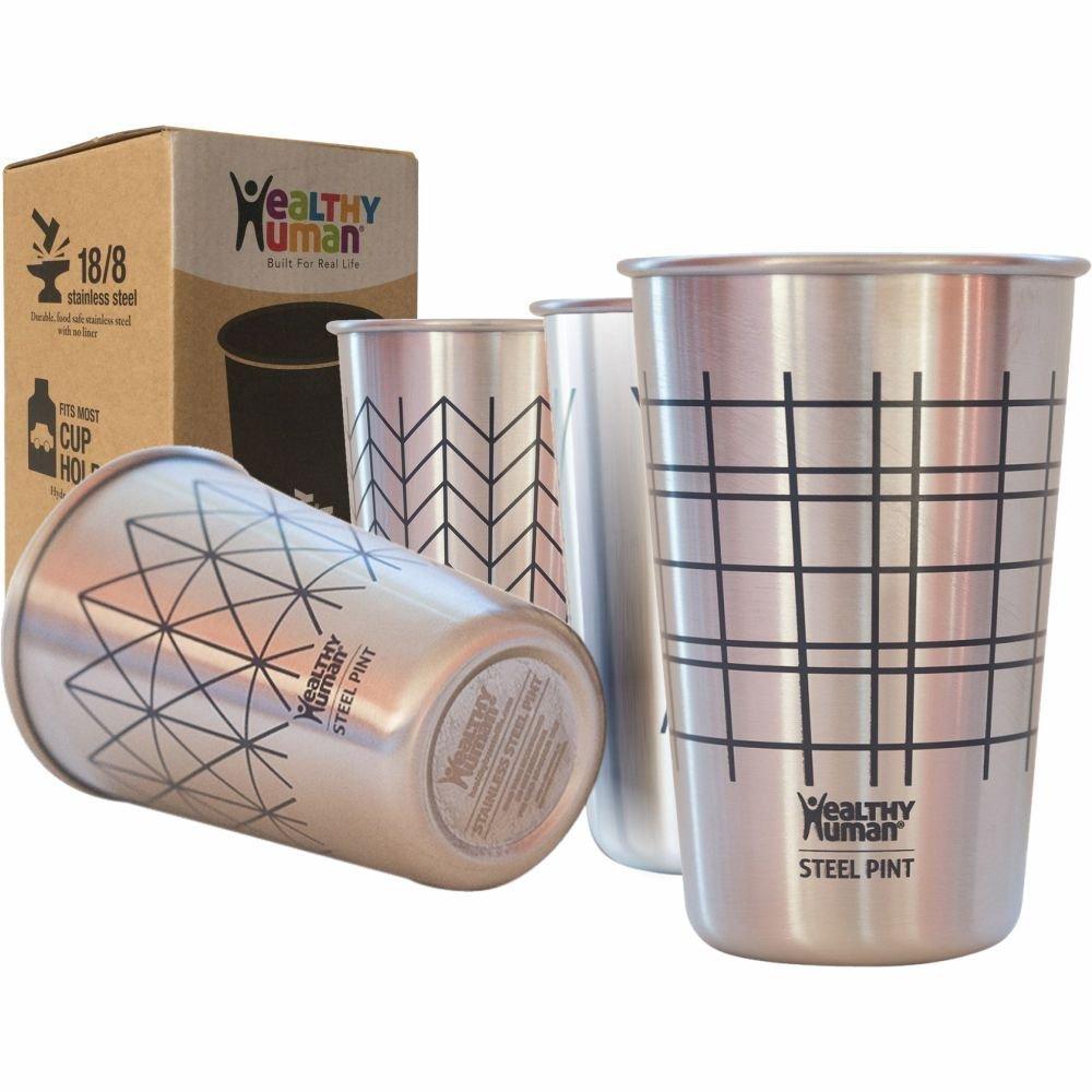 健康な人間4パック16oz/475 mlステンレススチールカップ – Ideal Beer Pints, Iced Tea Tumblers、ワイン&水マグカップキャンプ、Cup – バーセット pint-cup-lines-CA B011S7B7E6  Lines