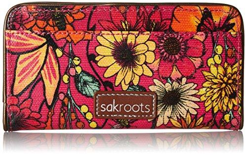 Sakroots Women's Artist Circle Slim Wallet Raspberry In Bloom One Size