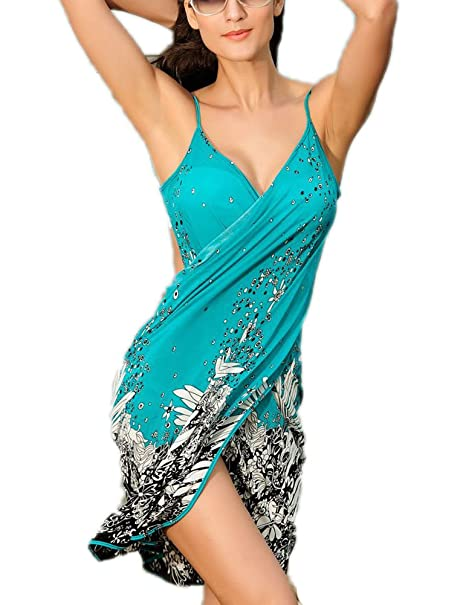 5c1f9f8a20e Yiyuan Women s Sexy Strap Backless Beachwear Bikini Dress Wrap Beach Dress  Bra Cover Up