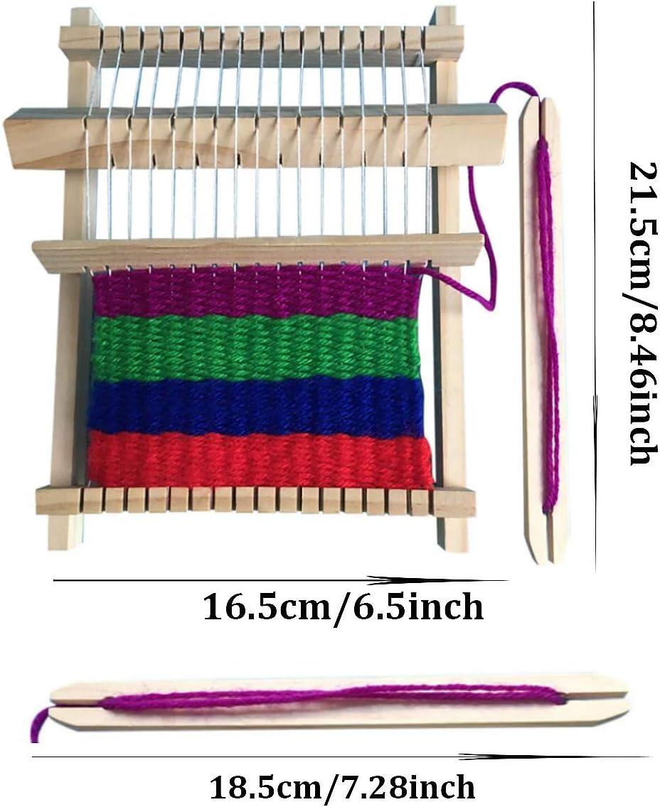Senteen Webrahmen Aus Holz 2pcs Webstuhl Kinder Handarbeits Weaving Loom Kit Schulwebrahmen Holzspielzeug Gelten Anf/änger Kids Und Erwachsene