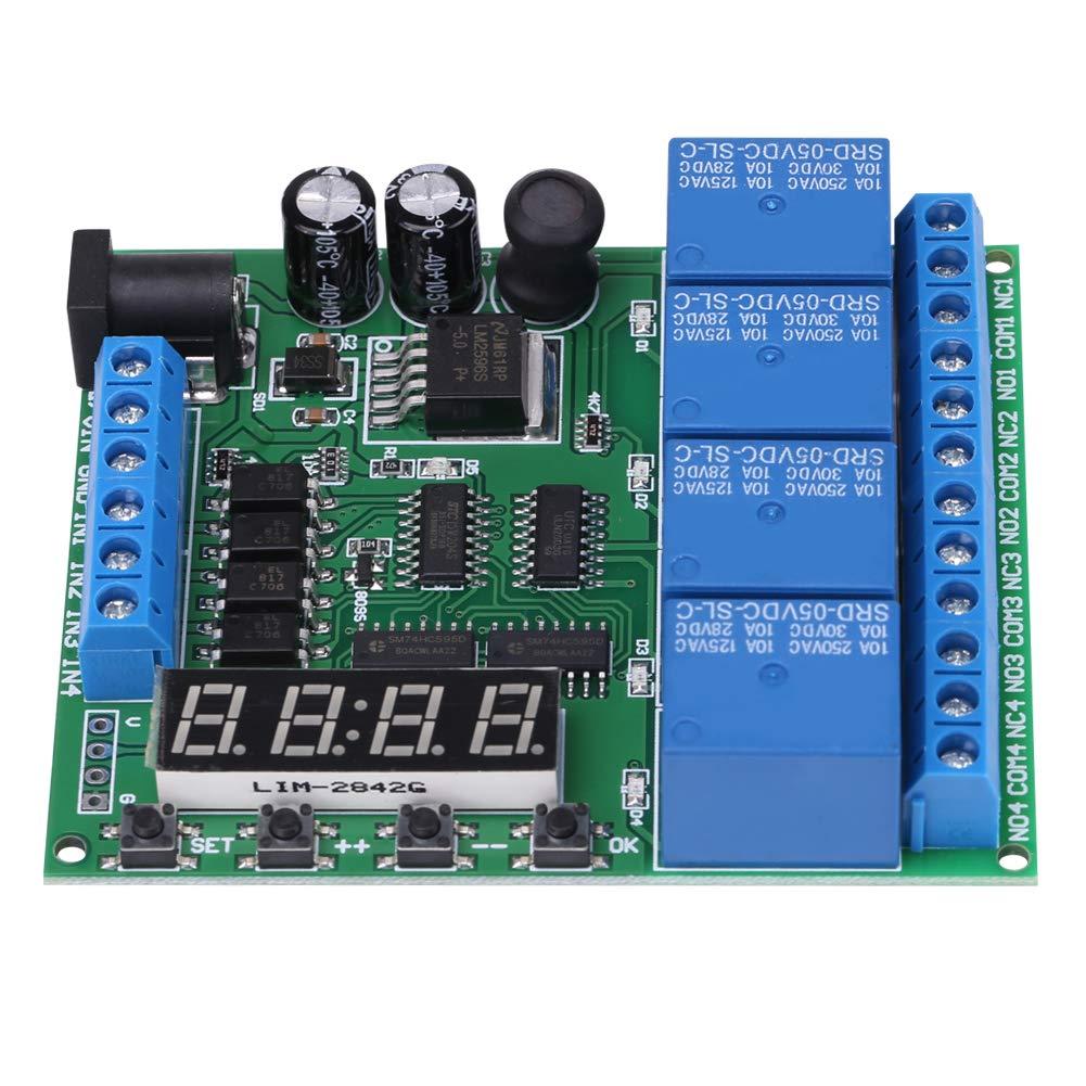 Relé de tiempo de retardo multifunción, módulo de interruptor de relé de temporizador de diodo anti-retroceso de potencia, temporizador de retardo de tiempo multifunción DC 4 canales para