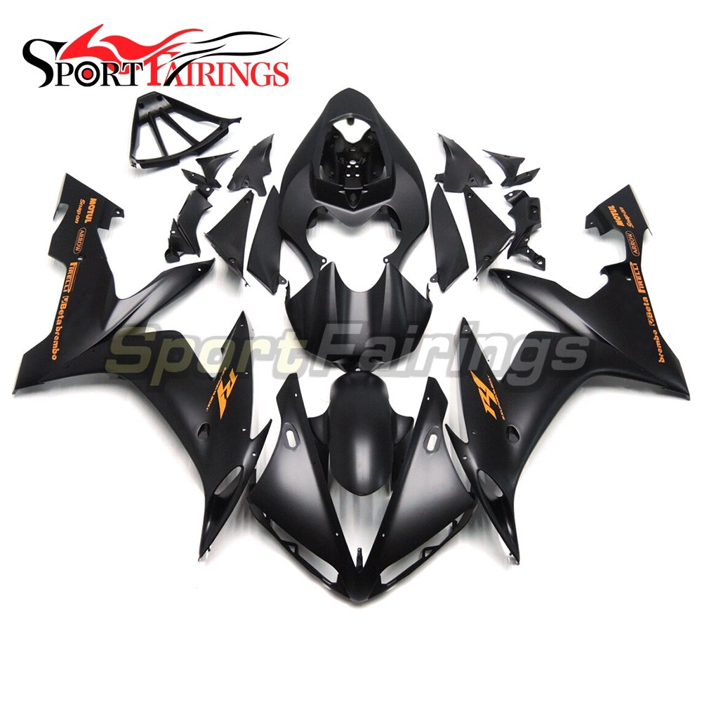 Sportfairings Complete Fairing Kit For Yamaha YZF-1000 YZF R1 2004 2005 2006 Year 04-06 Flat Black Orange Decals Bodywork