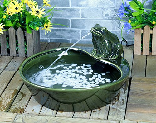 Green Glazed Ceramic Frog Solar Powered Outdoor Water Fountain - Frog Solar Water Fountain