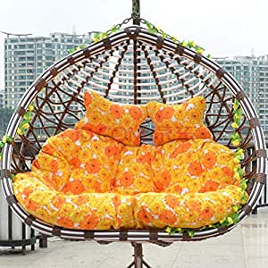 YEARLY Egg Nest Shaped Cushions, Basket Cushion Wicker Rattan Swing Pads Hanging Hammock 2 Persons Seater Zipper Washable no Chairs-Yellow ...