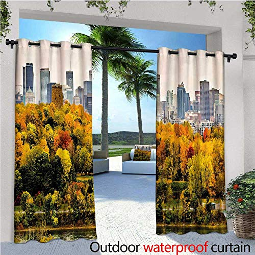 cobeDecor Fall Balcony Curtains Montreal Downtown Skyscrapers Autumn Various Trees Colorful Forest Urban Life Nature Outdoor Patio Curtains Waterproof with Grommets W96 x L96 Multicolor