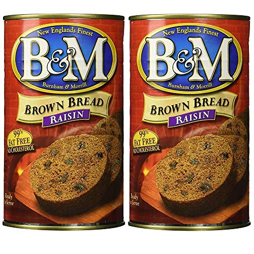 B&M Original Brown Bread in Can: Raisin (16 oz Cans) 2 Pack by B&M made in New England
