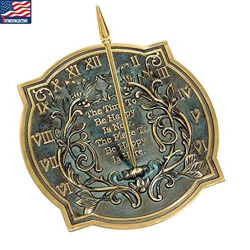 Brass Happiness Sundial - ANTIQUECOLLECTION Happiness Sundial, Solid Brass with Verdigris Highlights, 10-Inch Diameter