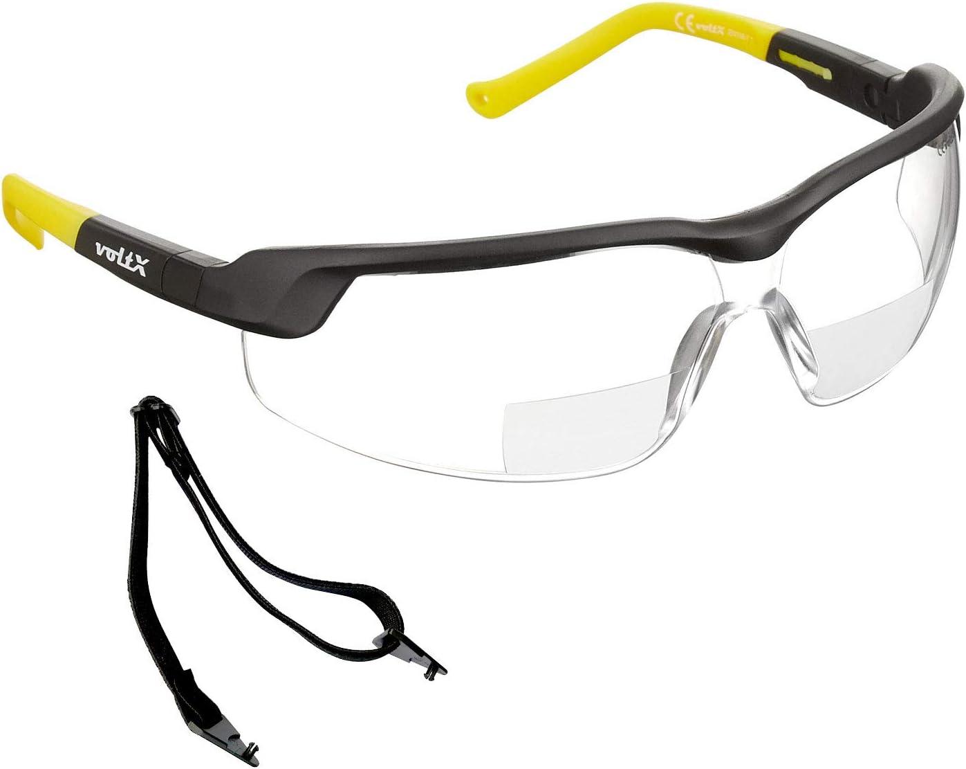 Scratch resistant Clear Lens +3.0 2020 model Anti fog coated CE EN166FT Certified UV400 Lens Bifocal Reading Safety Glasses voltX GT ADJUSTABLE Rigid Clamshell Safety Case.
