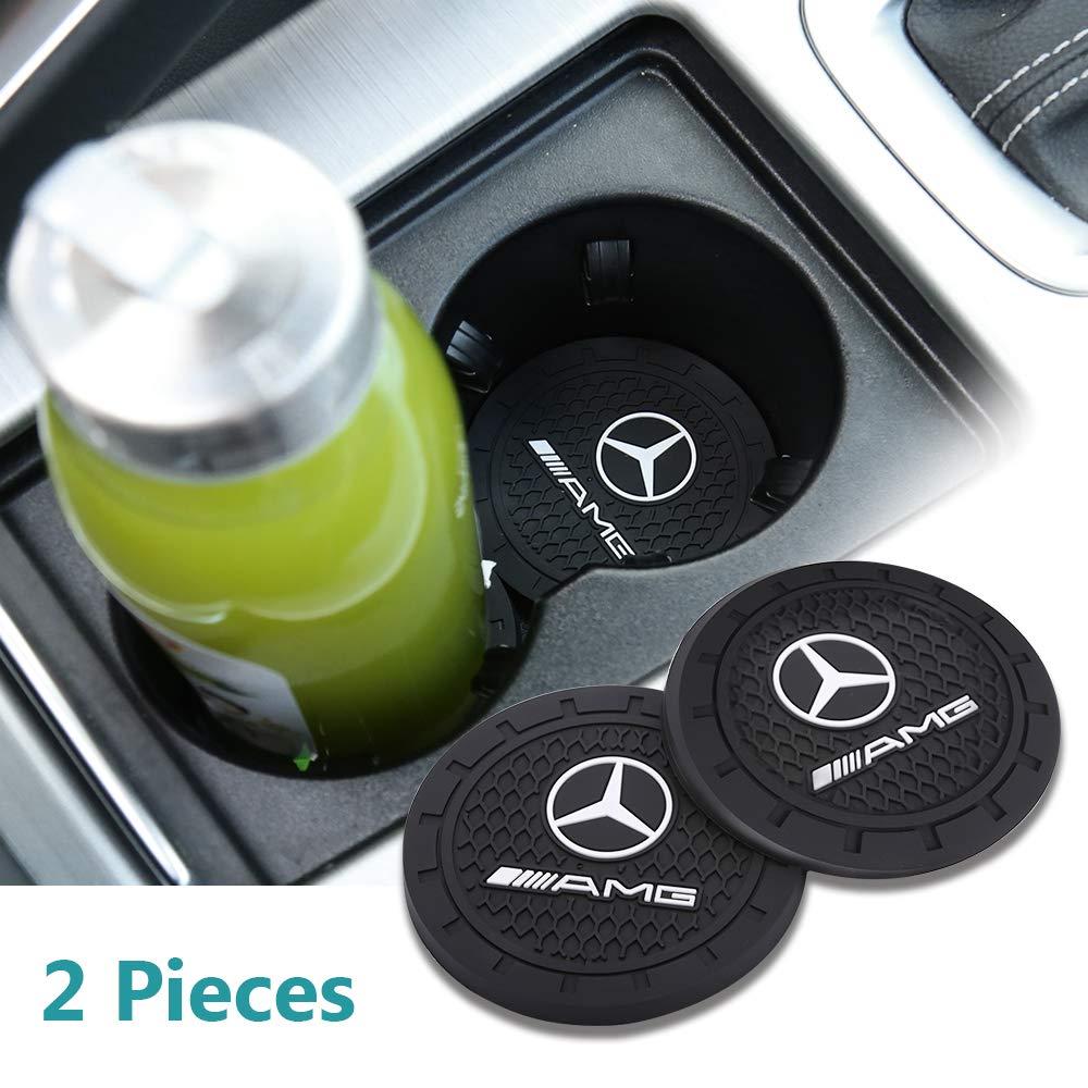 Yuanxi Electronics 2 Pcs 2.75 inch Car Interior Accessories Anti Slip Cup Mat for Mercedes-Benz S Serie,E Serie,C Serie,W Series,A Series,etc All Models Mercedes-Benz