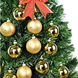 Pack of 12 Hanging Glass Christmas Balls Hand-Painted Baubles for Holiday Ornament or Christmas Tree Decoration, Great Christmas Gifts (Gold)