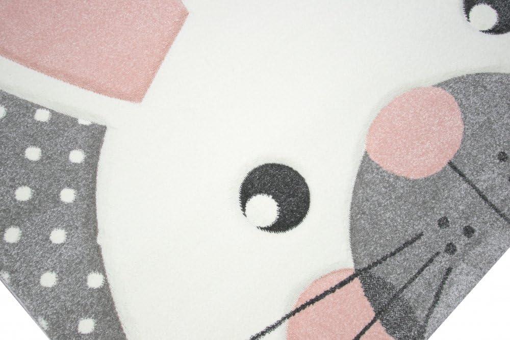 Tapis denfant Tapis de jeu Chambre denfant Tapis de b/éb/é li/èvre en rose blanc gris Gr/ö/ße 80x150 cm